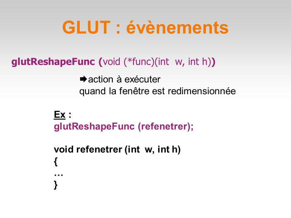 GLUT : évènements glutReshapeFunc (void (*func)(int w, int h))  action à exécuter quand la fenêtre est redimensionnée Ex : glutReshapeFunc (refenetrer); void refenetrer (int w, int h) { … }