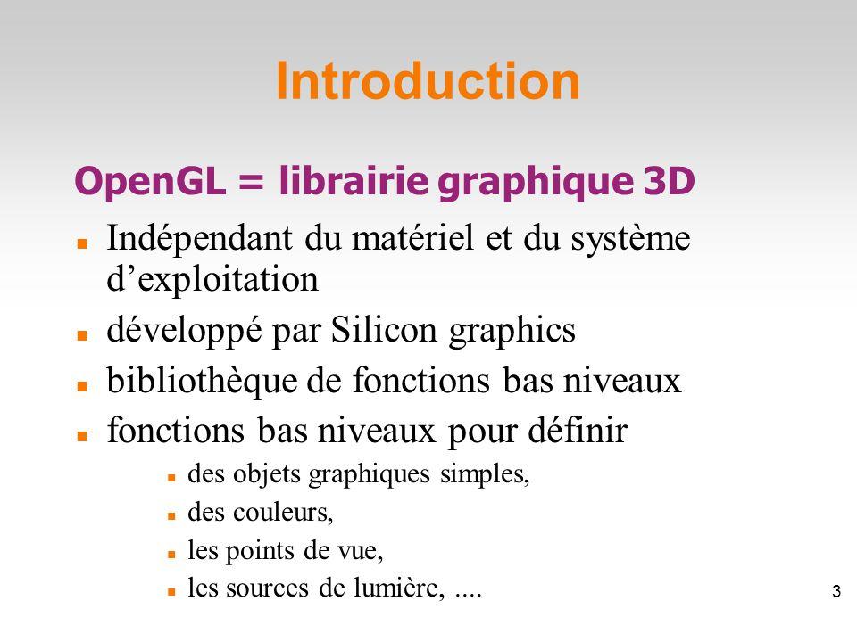 Introduction Indépendant du matériel et du système d'exploitation développé par Silicon graphics bibliothèque de fonctions bas niveaux fonctions bas niveaux pour définir des objets graphiques simples, des couleurs, les points de vue, les sources de lumière,....