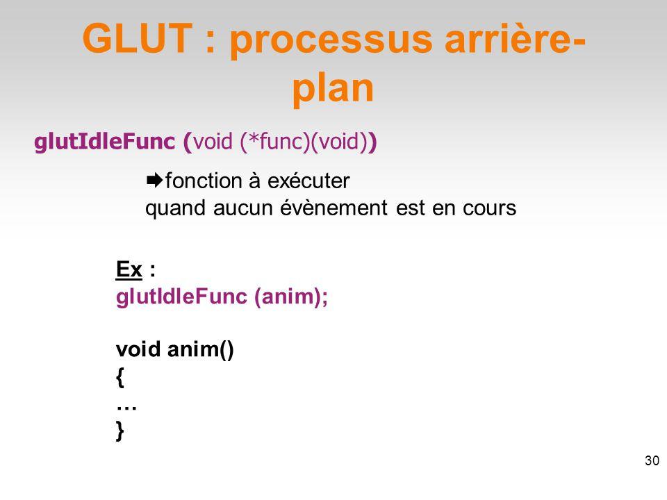 GLUT : processus arrière- plan glutIdleFunc (void (*func)(void))  fonction à exécuter quand aucun évènement est en cours 30 Ex : glutIdleFunc (anim); void anim() { … }