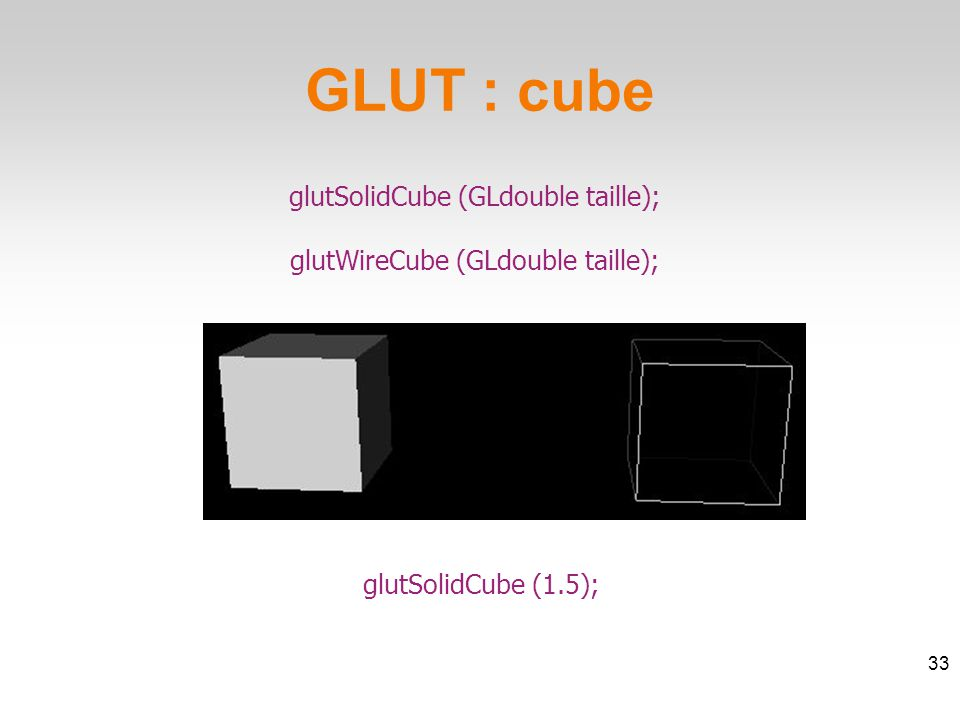 glutSolidCube (GLdouble taille); glutWireCube (GLdouble taille); GLUT : cube 33 glutSolidCube (1.5);
