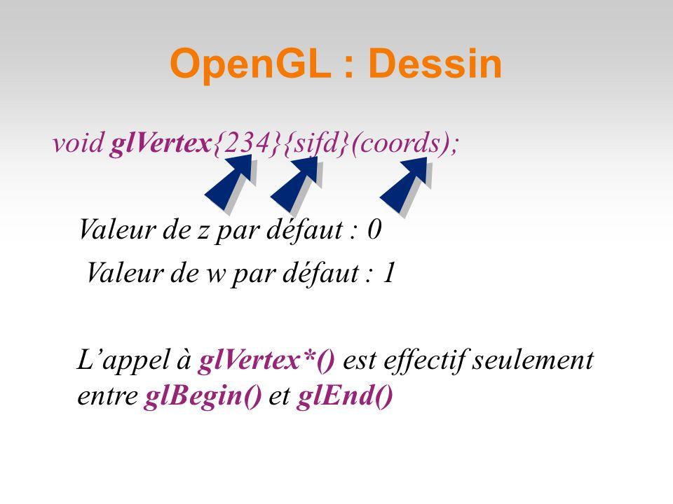 OpenGL : Dessin void glVertex{234}{sifd}(coords); Valeur de z par défaut : 0 Valeur de w par défaut : 1 L'appel à glVertex*() est effectif seulement entre glBegin() et glEnd()
