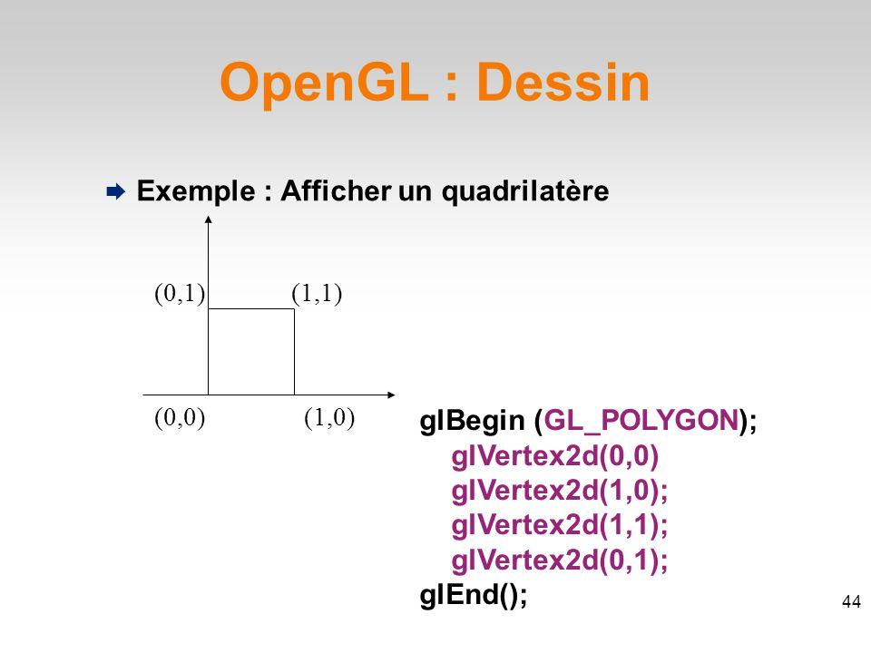 OpenGL : Dessin  Exemple : Afficher un quadrilatère glBegin (GL_POLYGON); glVertex2d(0,0) glVertex2d(1,0); glVertex2d(1,1); glVertex2d(0,1); glEnd(); (0,0)(1,0) (1,1)(0,1) 44