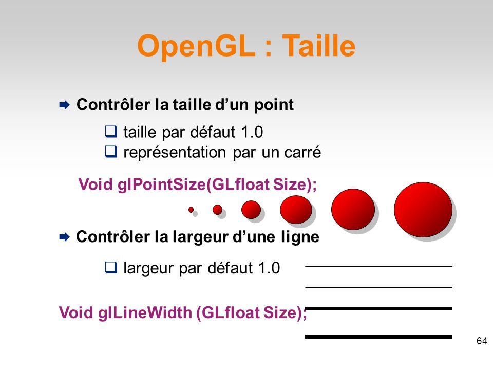 OpenGL : Taille  taille par défaut 1.0  représentation par un carré Void glPointSize(GLfloat Size); Void glLineWidth (GLfloat Size);  largeur par défaut 1.0 64  Contrôler la taille d'un point  Contrôler la largeur d'une ligne
