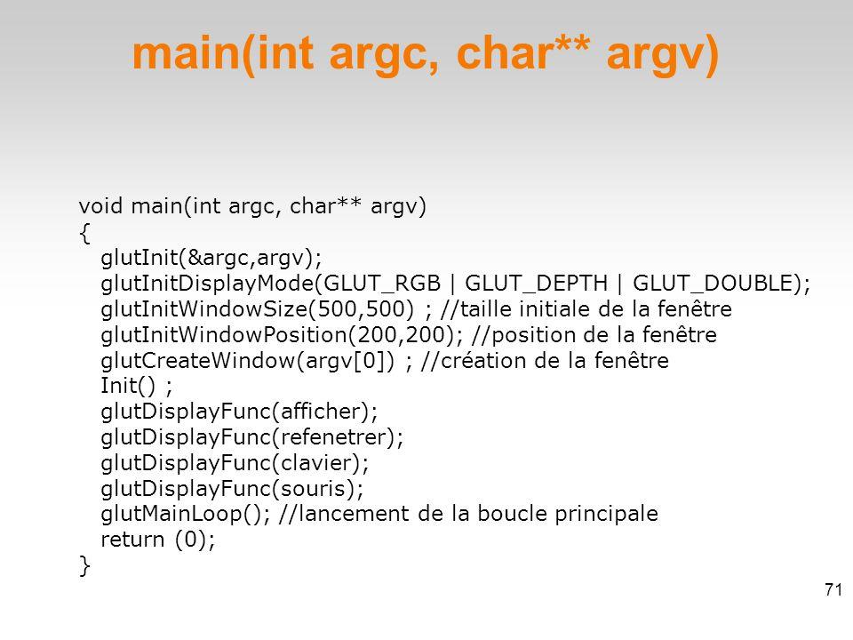 void main(int argc, char** argv)  { glutInit(&argc,argv); glutInitDisplayMode(GLUT_RGB | GLUT_DEPTH | GLUT_DOUBLE); glutInitWindowSize(500,500) ; //taille initiale de la fenêtre glutInitWindowPosition(200,200); //position de la fenêtre glutCreateWindow(argv[0]) ; //création de la fenêtre Init() ; glutDisplayFunc(afficher); glutDisplayFunc(refenetrer); glutDisplayFunc(clavier); glutDisplayFunc(souris); glutMainLoop(); //lancement de la boucle principale return (0); } main(int argc, char** argv) 71