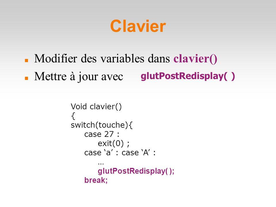 Clavier Modifier des variables dans clavier() Mettre à jour avec Void clavier()  { switch(touche){ case 27 : exit(0) ; case 'a' : case 'A' : … glutPostRedisplay( ); break; glutPostRedisplay( )