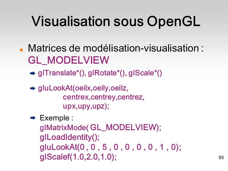 Matrices de modélisation-visualisation : GL_MODELVIEW glTranslate*(), glRotate*(), glScale*()  gluLookAt(oeilx,oeily,oeilz, centrex,centrey,centrez, upx,upy,upz); Exemple : glMatrixMode( GL_MODELVIEW); glLoadIdentity(); gluLookAt(0, 0, 5, 0, 0, 0, 0, 1, 0); glScalef(1.0,2.0,1.0); Visualisation sous OpenGL 95