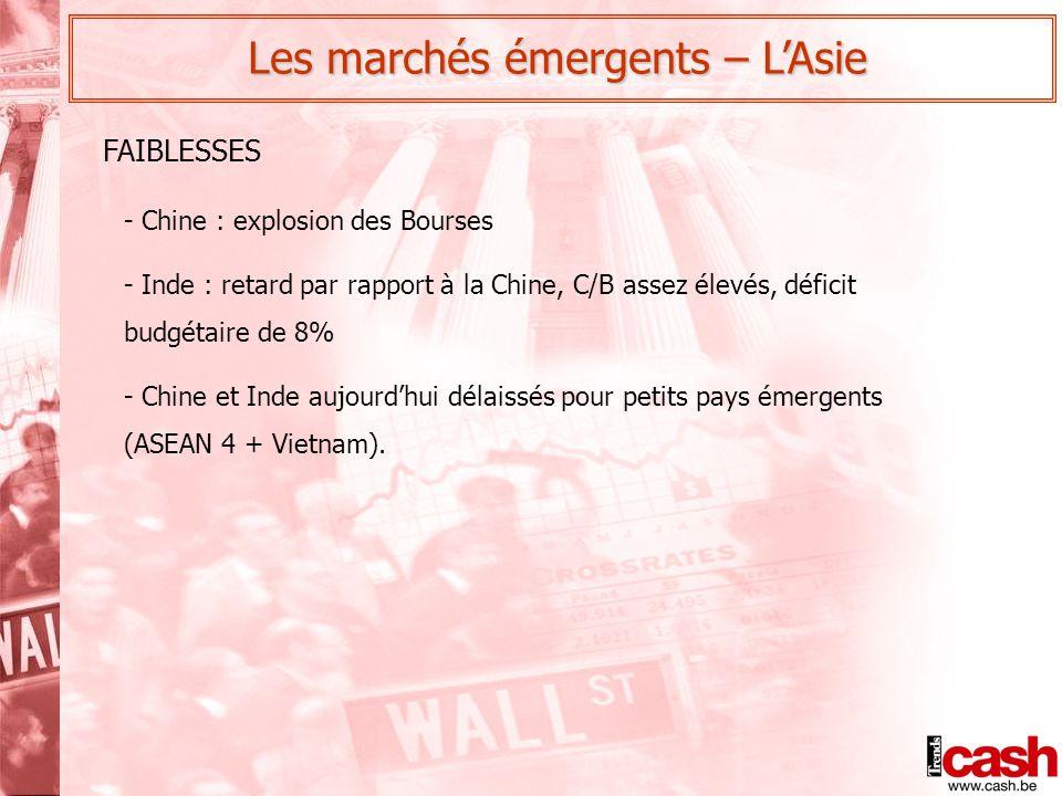 Les marchés émergents – L'Asie - Chine : explosion des Bourses - Inde : retard par rapport à la Chine, C/B assez élevés, déficit budgétaire de 8% - Chine et Inde aujourd'hui délaissés pour petits pays émergents (ASEAN 4 + Vietnam).