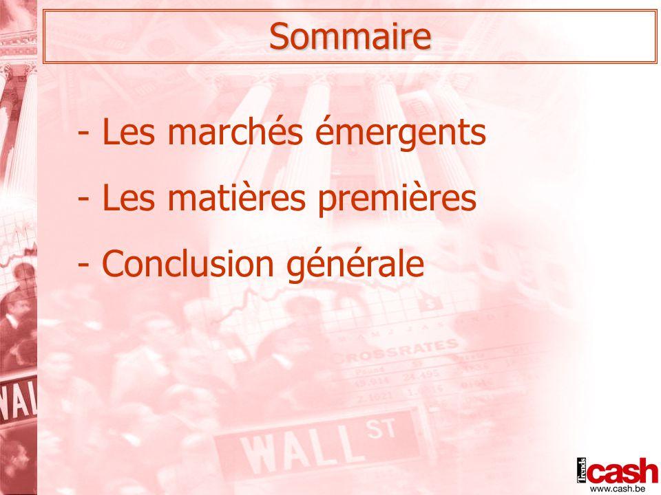Sommaire - Les marchés émergents - Les matières premières - Conclusion générale