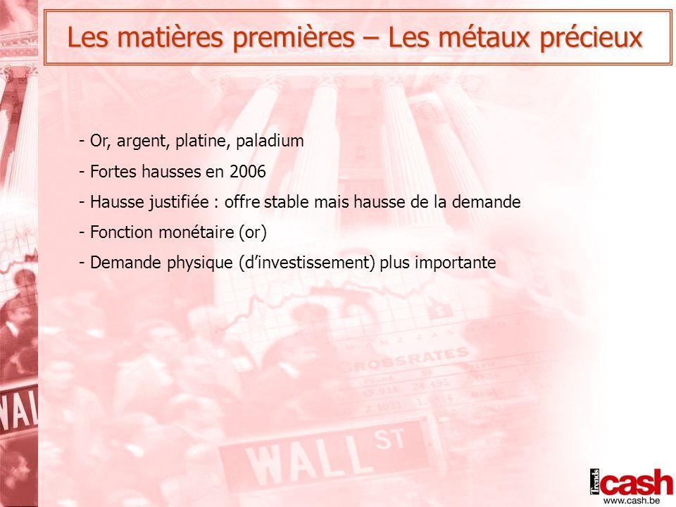 Les matières premières – Les métaux précieux - Or, argent, platine, paladium - Fortes hausses en 2006 - Hausse justifiée : offre stable mais hausse de