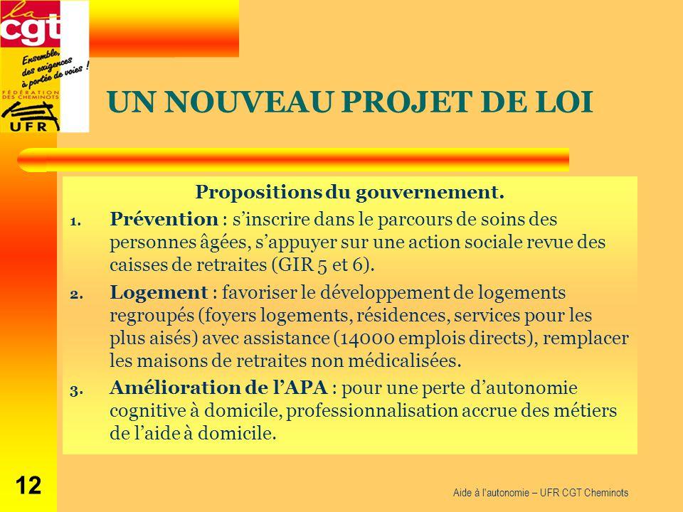 UN NOUVEAU PROJET DE LOI Propositions du gouvernement. 1. Prévention : s'inscrire dans le parcours de soins des personnes âgées, s'appuyer sur une act