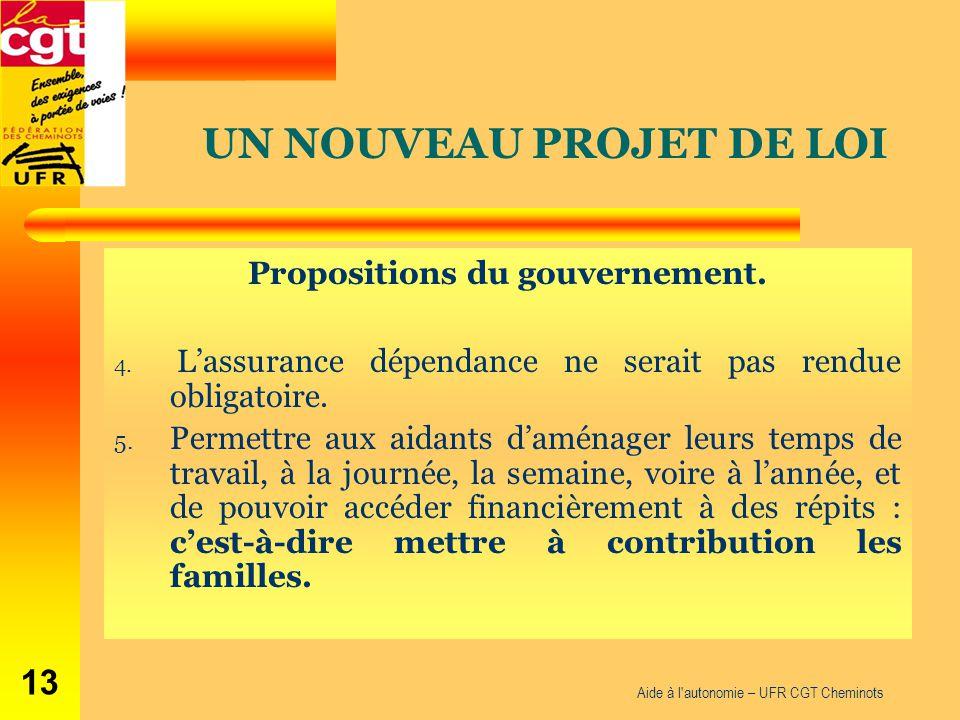 Aide à l'autonomie – UFR CGT Cheminots 13 Propositions du gouvernement. 4. L'assurance dépendance ne serait pas rendue obligatoire. 5. Permettre aux a