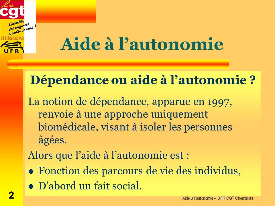 Aide à l'autonomie Dépendance ou aide à l'autonomie ? La notion de dépendance, apparue en 1997, renvoie à une approche uniquement biomédicale, visant