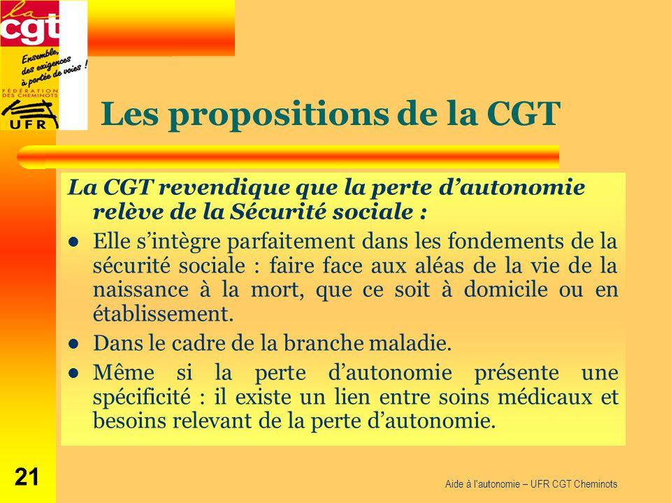 Les propositions de la CGT La CGT revendique que la perte d'autonomie relève de la Sécurité sociale : Elle s'intègre parfaitement dans les fondements