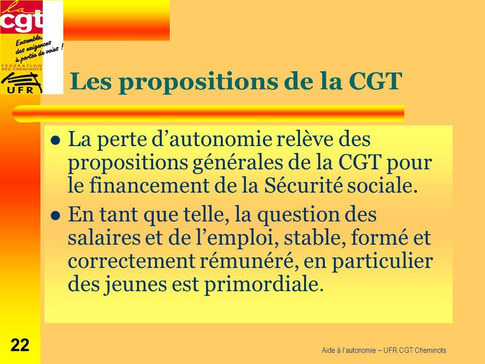 Les propositions de la CGT La perte d'autonomie relève des propositions générales de la CGT pour le financement de la Sécurité sociale. En tant que te
