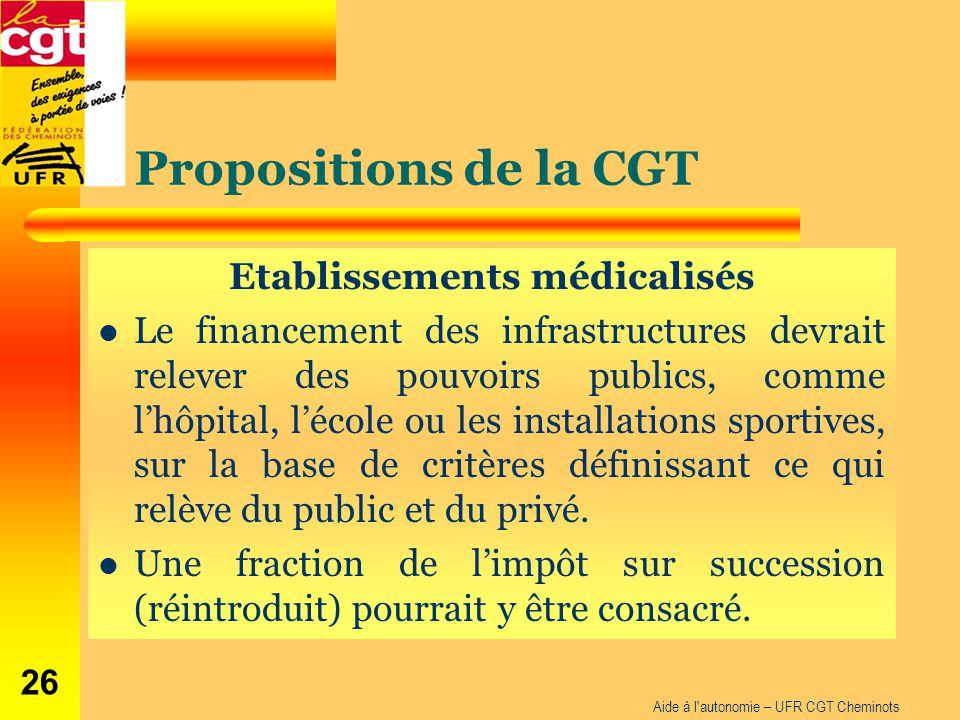 Propositions de la CGT Etablissements médicalisés Le financement des infrastructures devrait relever des pouvoirs publics, comme l'hôpital, l'école ou