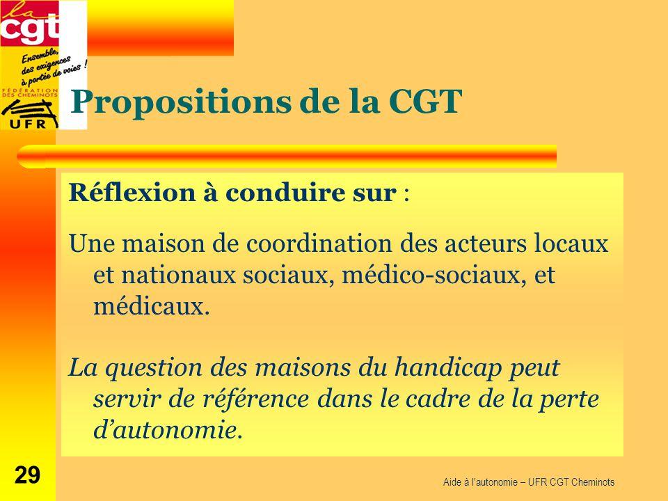 Propositions de la CGT Réflexion à conduire sur : Une maison de coordination des acteurs locaux et nationaux sociaux, médico-sociaux, et médicaux. La
