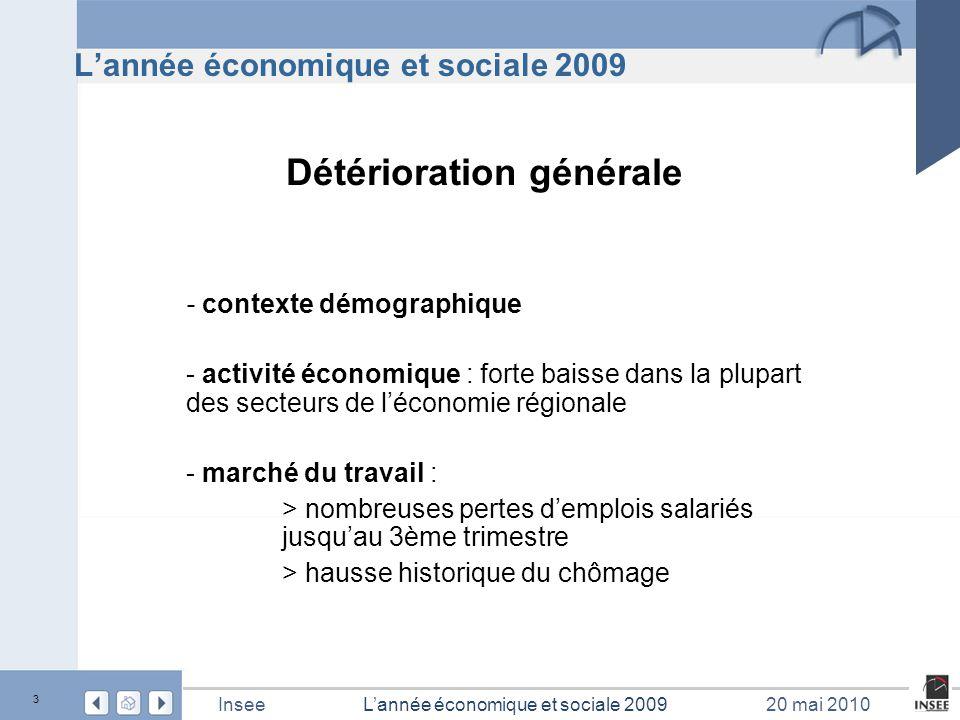 4 L'année économique et sociale 2009Insee20 mai 2010 Contexte démographique
