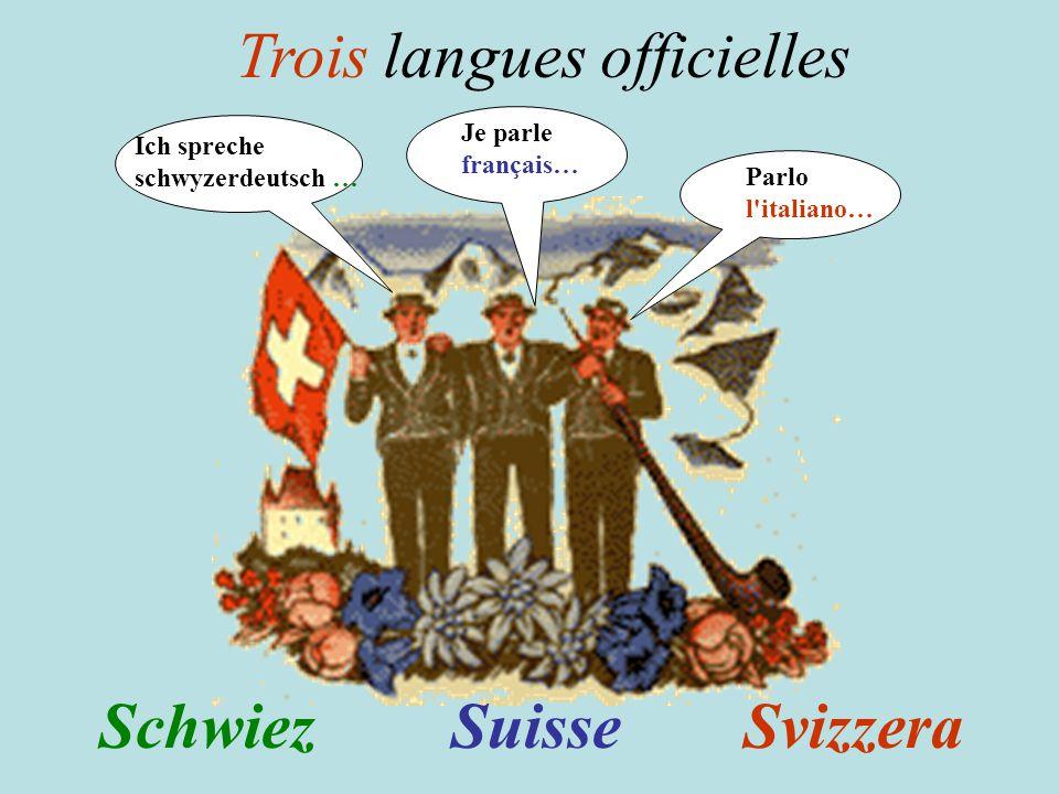 SuisseSvizzeraSchwiez Je parle français… Parlo l italiano… Ich spreche schwyzerdeutsch … Trois langues officielles
