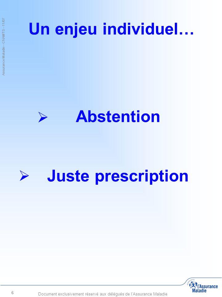 Assurance Maladie – CNAMTS – 11/07 Document exclusivement réservé aux délégués de l'Assurance Maladie 17 Abstention / Juste prescription