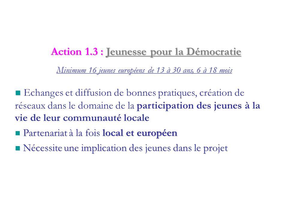 Pour les groupes d'au moins 4 jeunes de 15-30 ans, de 3 à 12 mois Action 1.2 : Initiatives de Jeunes Initiative nationale : Projet local avec dimensio