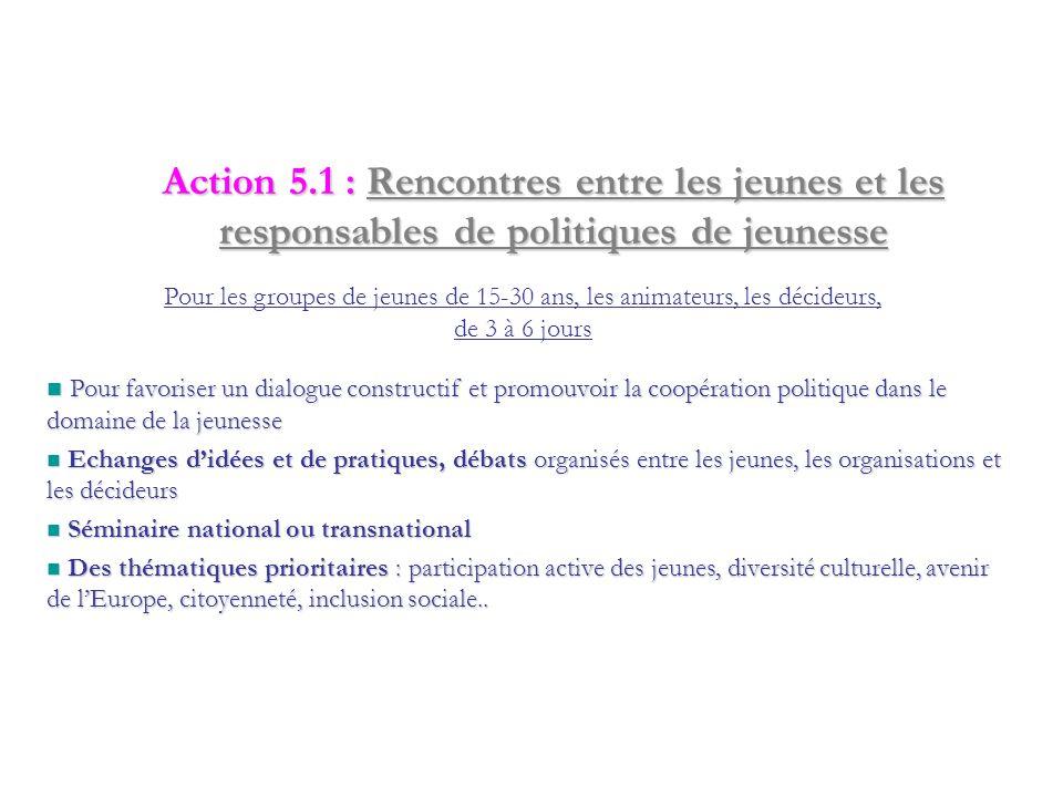 Action 4.3 : Formations/Mises en réseau Projets à l'initiative des organisations Pour les animateurs et structures de jeunesse, pour développer les ac