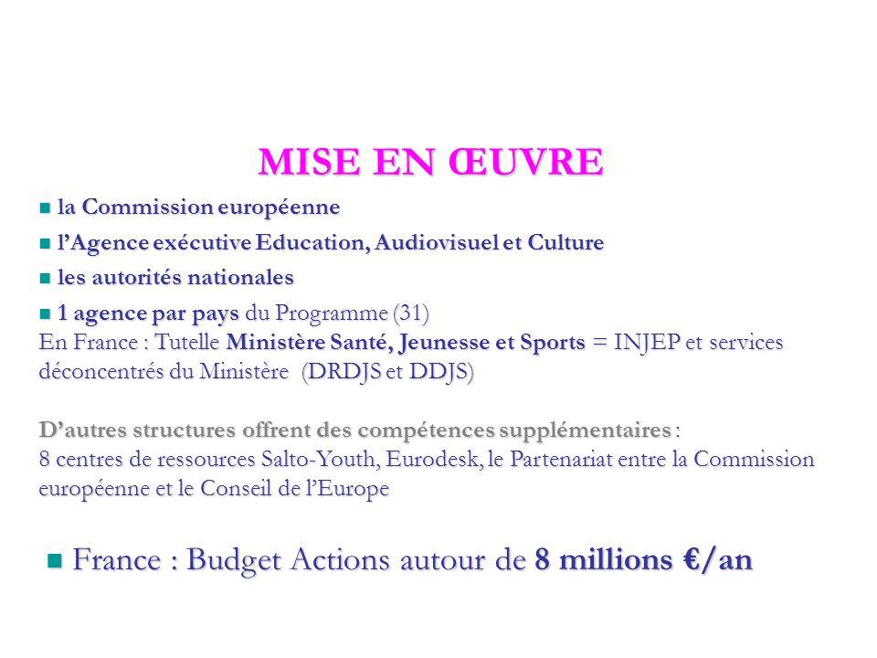 JEUNESSE EN ACTION Un programme de 885 Millions d'€ de l'Union Européenne établi pour 7 ans (2007 - 2013)