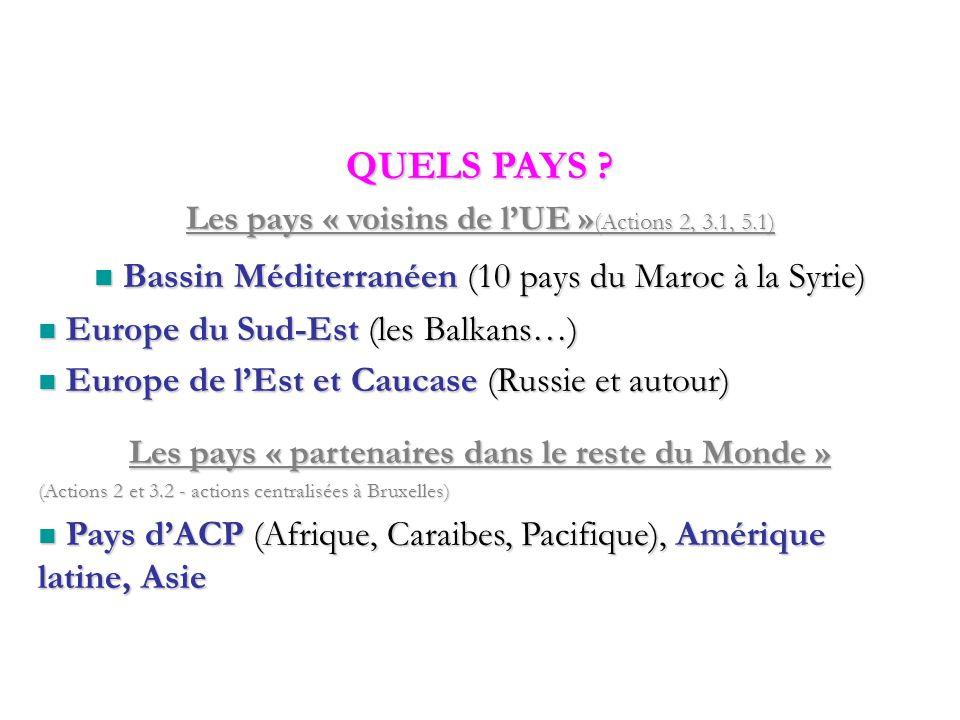 Bassin Méditerranéen (10 pays du Maroc à la Syrie) Bassin Méditerranéen (10 pays du Maroc à la Syrie) Europe du Sud-Est (les Balkans…) Europe du Sud-Est (les Balkans…) Europe de l'Est et Caucase (Russie et autour) Europe de l'Est et Caucase (Russie et autour) Les pays « partenaires dans le reste du Monde » (Actions 2 et 3.2 - actions centralisées à Bruxelles) Pays d'ACP (Afrique, Caraibes, Pacifique), Amérique latine, Asie Pays d'ACP (Afrique, Caraibes, Pacifique), Amérique latine, Asie QUELS PAYS .