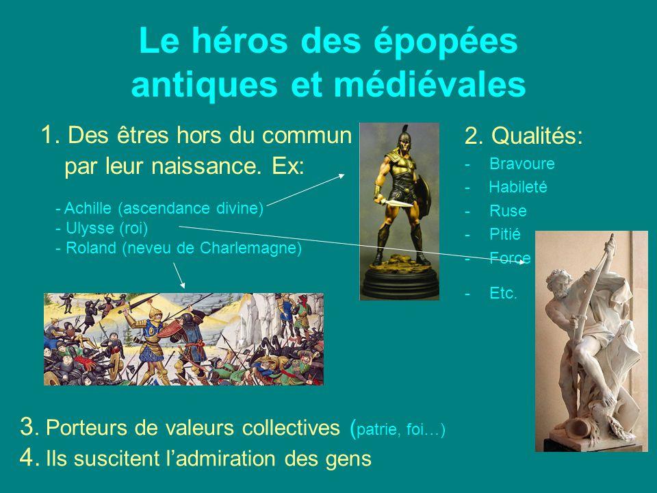 Le héros des épopées antiques et médiévales 1. Des êtres hors du commun par leur naissance. Ex: 2. Qualités: -Bravoure - Habileté -Ruse -Pitié -Force