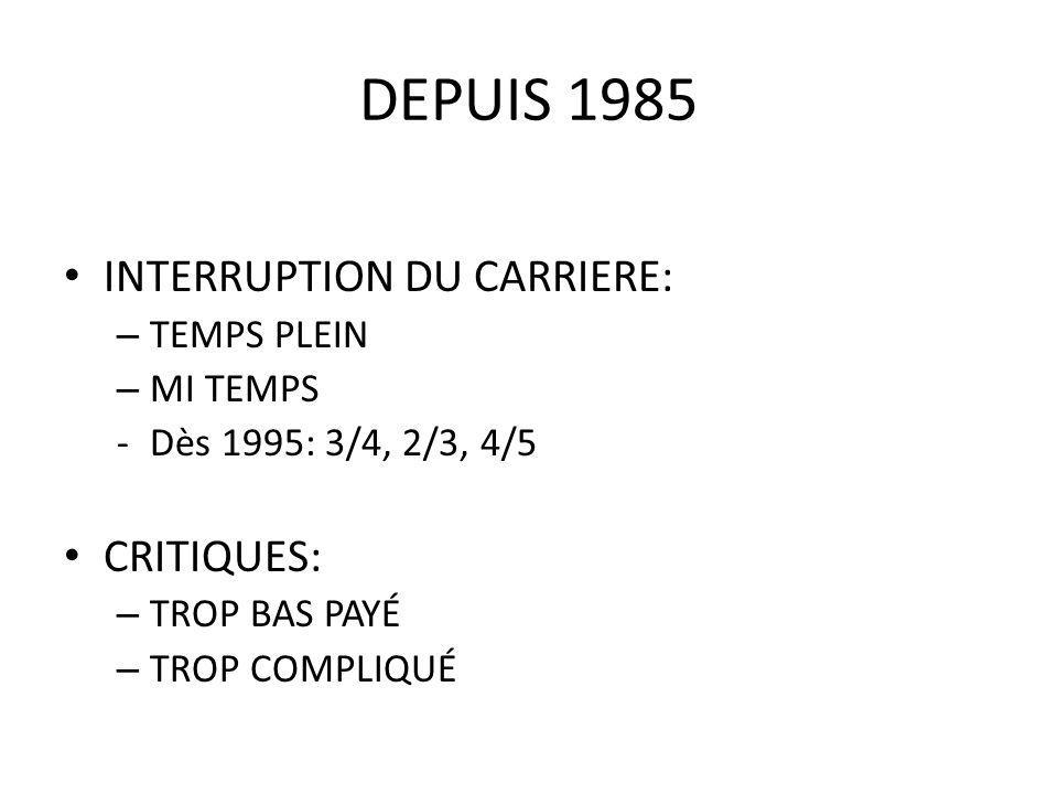 DEPUIS 1985 INTERRUPTION DU CARRIERE: – TEMPS PLEIN – MI TEMPS -Dès 1995: 3/4, 2/3, 4/5 CRITIQUES: – TROP BAS PAYÉ – TROP COMPLIQUÉ