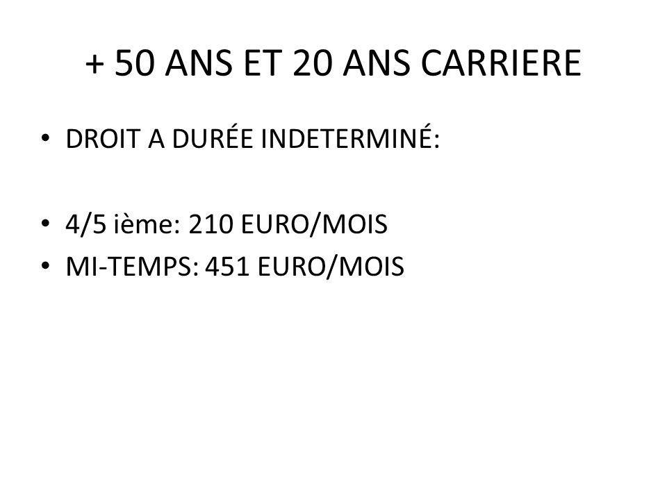 + 50 ANS ET 20 ANS CARRIERE DROIT A DURÉE INDETERMINÉ: 4/5 ième: 210 EURO/MOIS MI-TEMPS: 451 EURO/MOIS