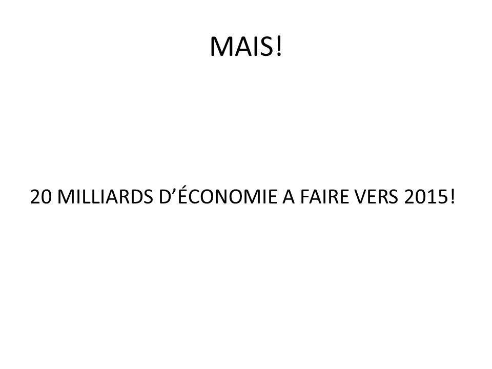 MAIS! 20 MILLIARDS D'ÉCONOMIE A FAIRE VERS 2015!