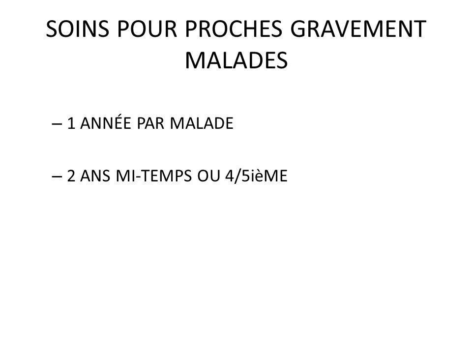 SOINS POUR PROCHES GRAVEMENT MALADES – 1 ANNÉE PAR MALADE – 2 ANS MI-TEMPS OU 4/5ièME