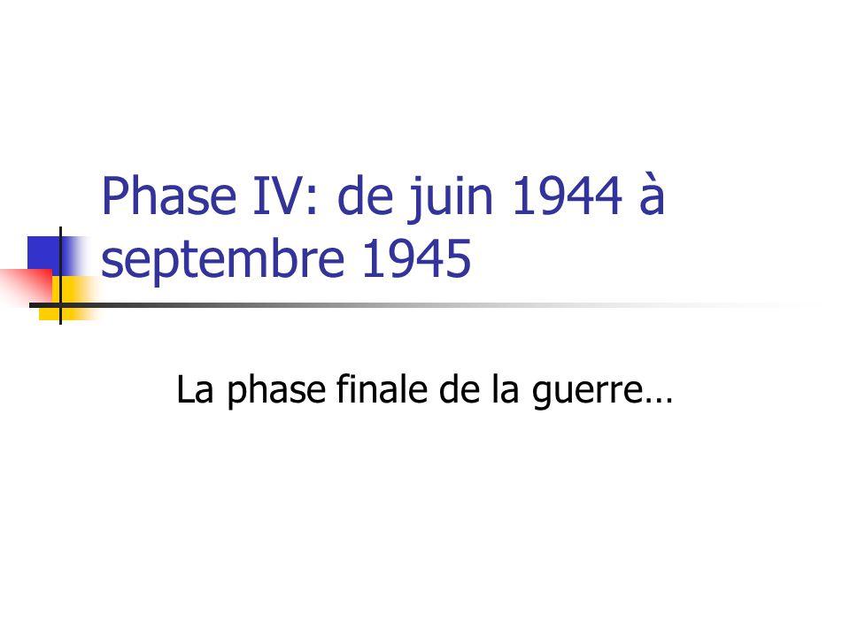 Phase IV: de juin 1944 à septembre 1945 La phase finale de la guerre…