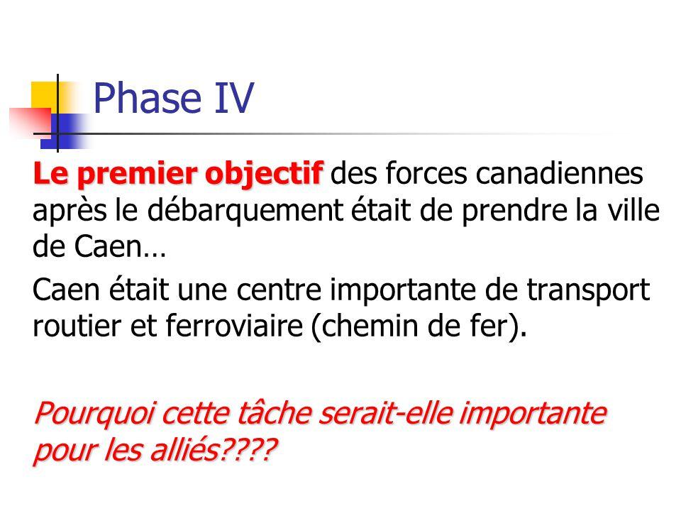 Phase IV Le premier objectif Le premier objectif des forces canadiennes après le débarquement était de prendre la ville de Caen… Caen était une centre importante de transport routier et ferroviaire (chemin de fer).