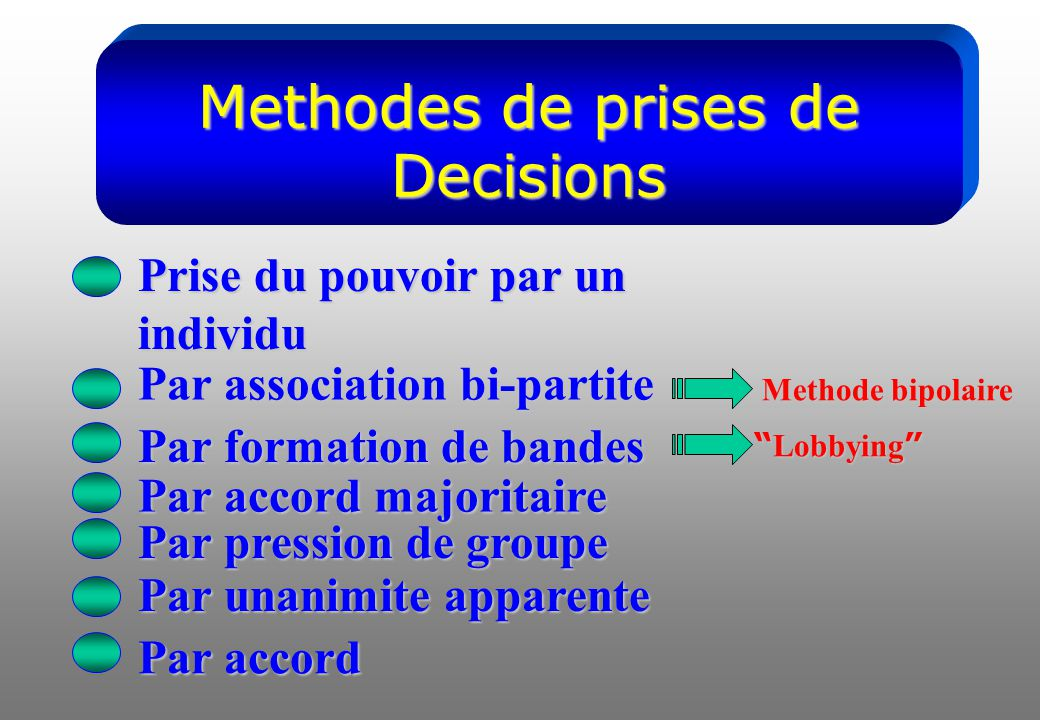 Methodes de prises de Decisions Prise du pouvoir par un individu Par association bi-partite Par formation de bandes Par accord majoritaire Par pression de groupe Par unanimite apparente Par accord Methode bipolaire Lobbying