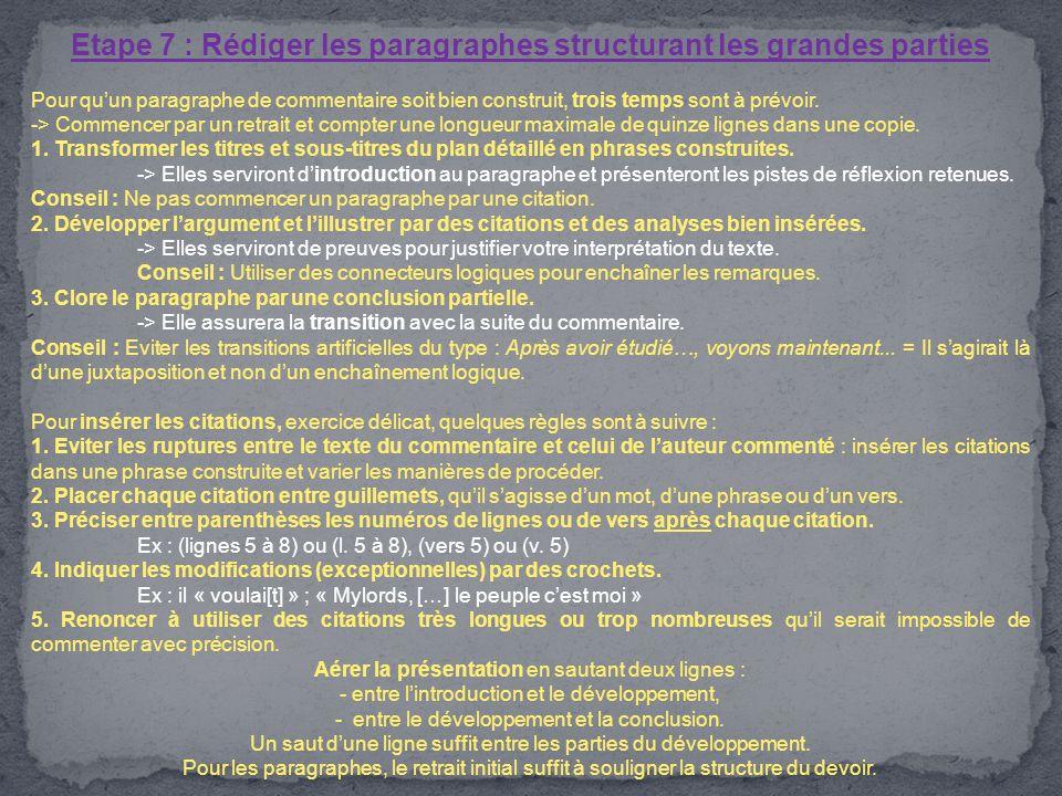 Etape 7 : Rédiger les paragraphes structurant les grandes parties Pour qu'un paragraphe de commentaire soit bien construit, trois temps sont à prévoir