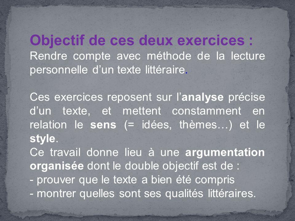 Objectif de ces deux exercices : Rendre compte avec méthode de la lecture personnelle d'un texte littéraire. Ces exercices reposent sur l'analyse préc