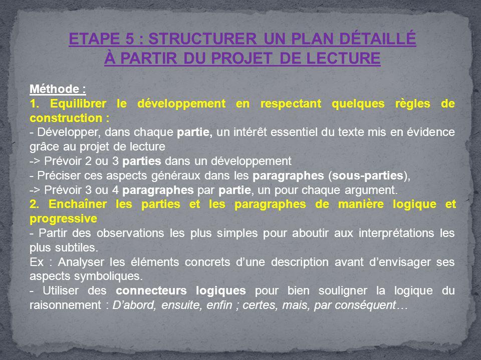 ETAPE 5 : STRUCTURER UN PLAN DÉTAILLÉ À PARTIR DU PROJET DE LECTURE Méthode : 1. Equilibrer le développement en respectant quelques règles de construc