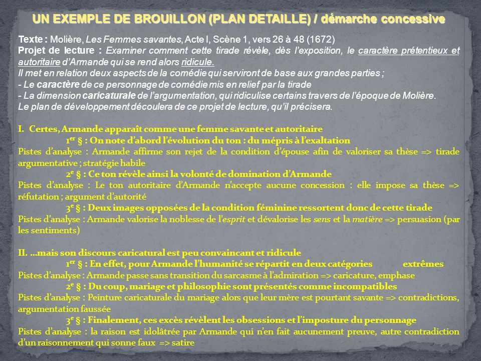 UN EXEMPLE DE BROUILLON (PLAN DETAILLE) / démarche concessive Texte : Molière, Les Femmes savantes, Acte I, Scène 1, vers 26 à 48 (1672) Projet de lec