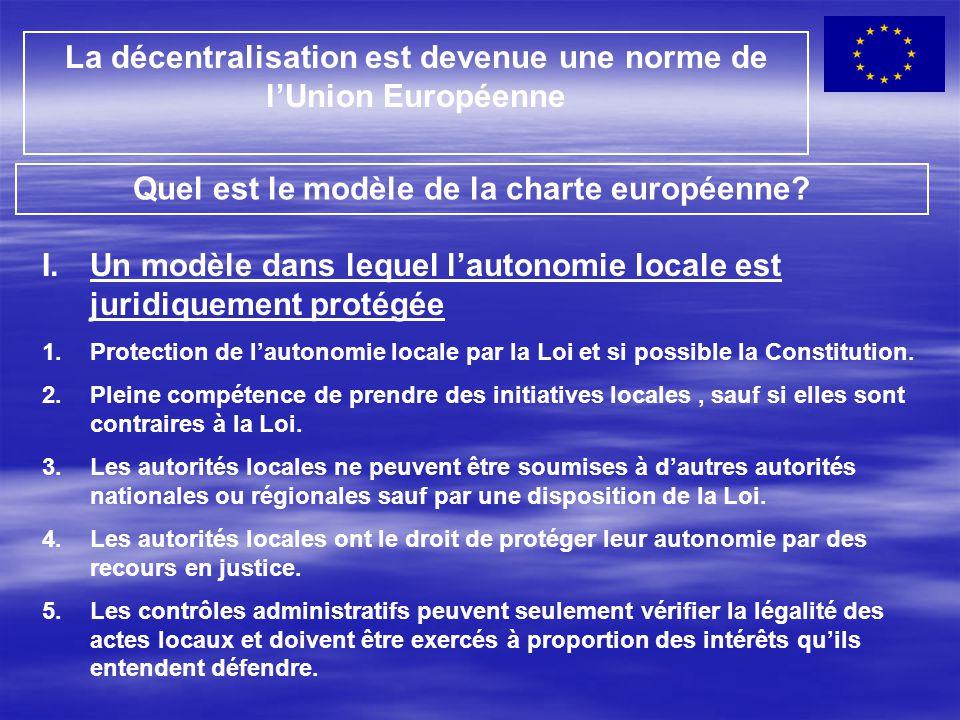 La décentralisation est devenue une norme de l'Union Européenne Quel est le modèle de la charte européenne? I.Un modèle dans lequel l'autonomie locale
