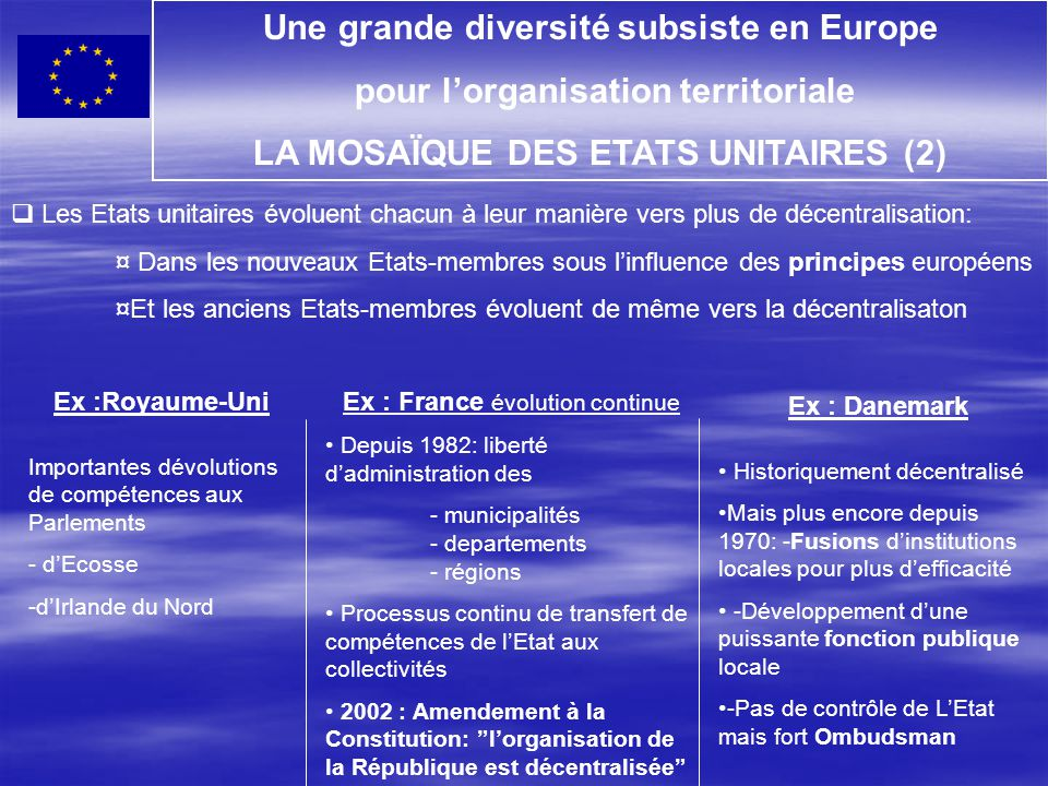 Une grande diversité subsiste en Europe pour l'organisation territoriale LA MOSAÏQUE DES ETATS UNITAIRES (2)  Les Etats unitaires évoluent chacun à l