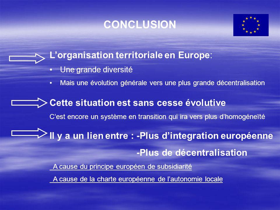CONCLUSION L'organisation territoriale en Europe: Une grande diversité Mais une évolution générale vers une plus grande décentralisation Cette situati
