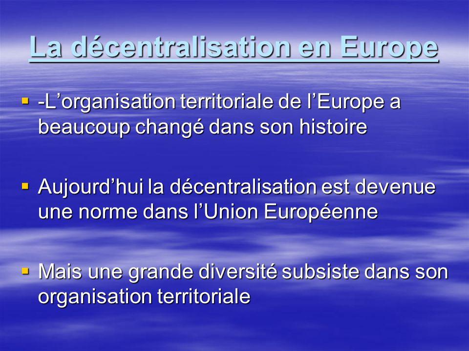 L'organisation territoriale de l'Europe a beaucoup changé dans son histoire  Trois modèles européens se sont succédés:  -Un empire centralisé  -Une mosaïque d'autorités très locales  -Une Europe des Etats –Initialement centralisés et désunis –Aujourd'hui décentralisés et unis