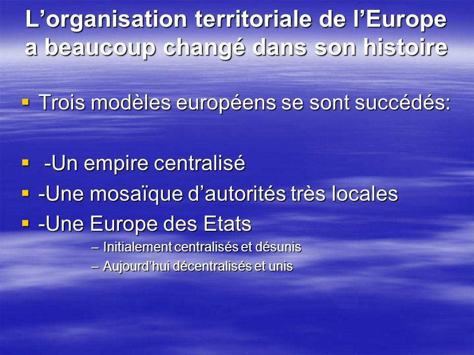 L'organisation territoriale de l'Europe a beaucoup changé dans son histoire  Trois modèles européens se sont succédés:  -Un empire centralisé  -Une