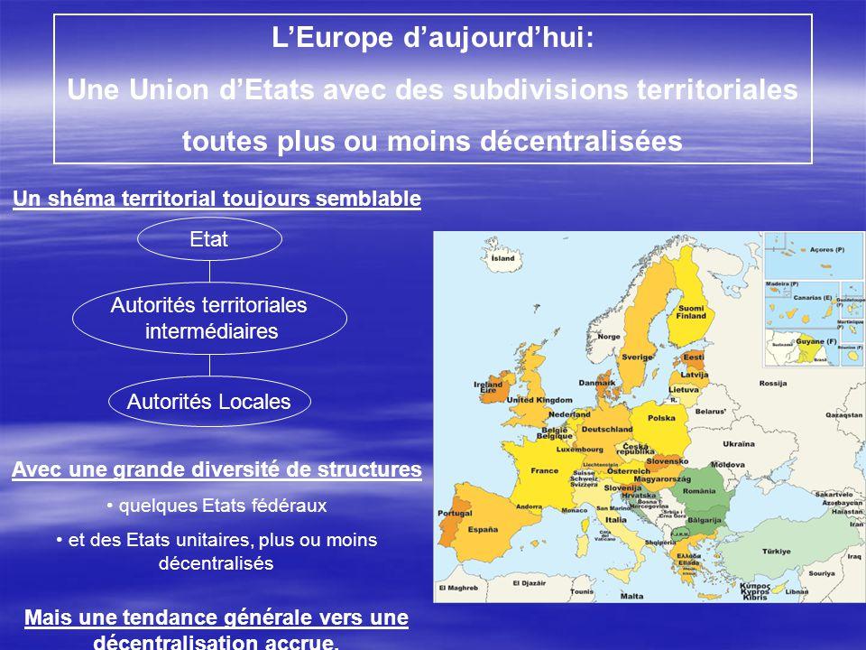 L'Europe d'aujourd'hui: Une Union d'Etats avec des subdivisions territoriales toutes plus ou moins décentralisées Un shéma territorial toujours sembla