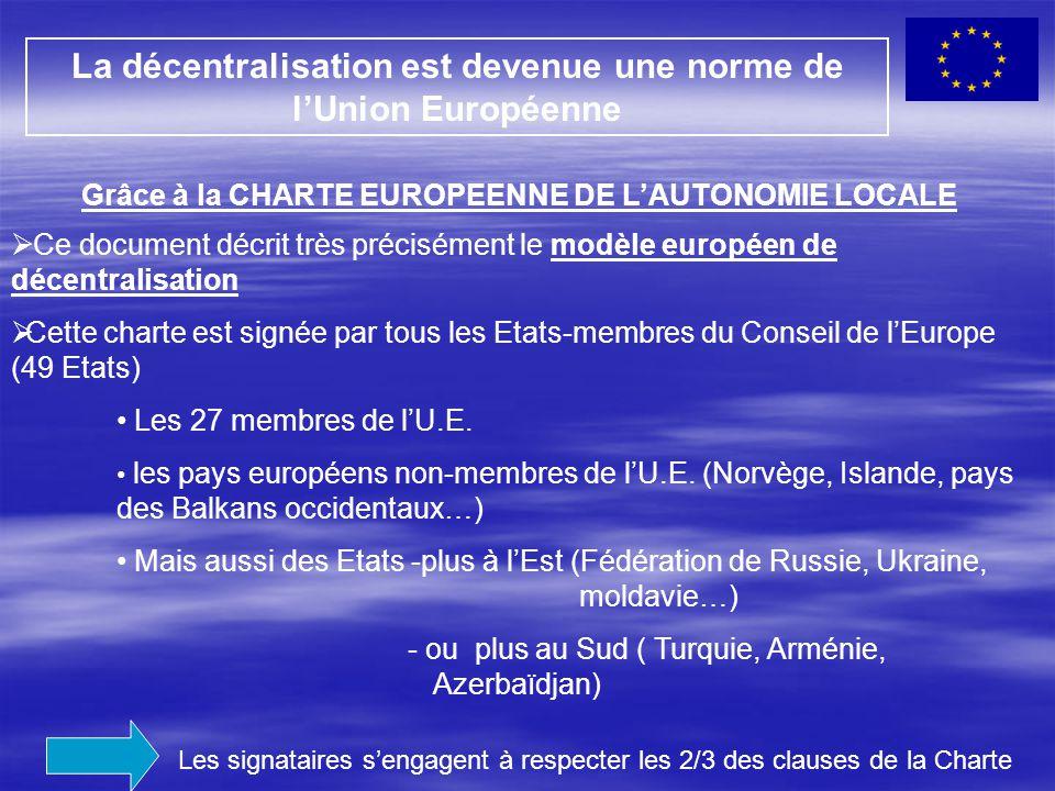  Ce document décrit très précisément le modèle européen de décentralisation  Cette charte est signée par tous les Etats-membres du Conseil de l'Euro