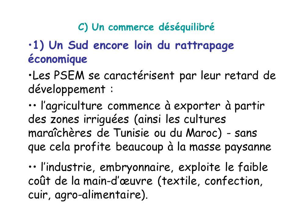 C) Un commerce déséquilibré 1) Un Sud encore loin du rattrapage économique Les PSEM se caractérisent par leur retard de développement : l'agriculture