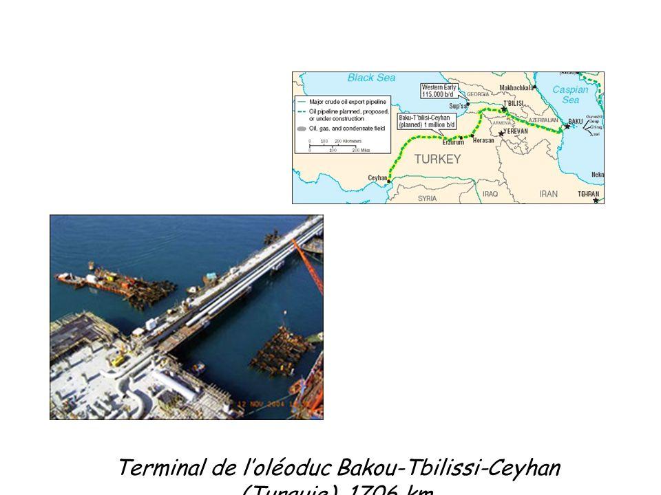 Terminal de l'oléoduc Bakou-Tbilissi-Ceyhan (Turquie), 1706 km