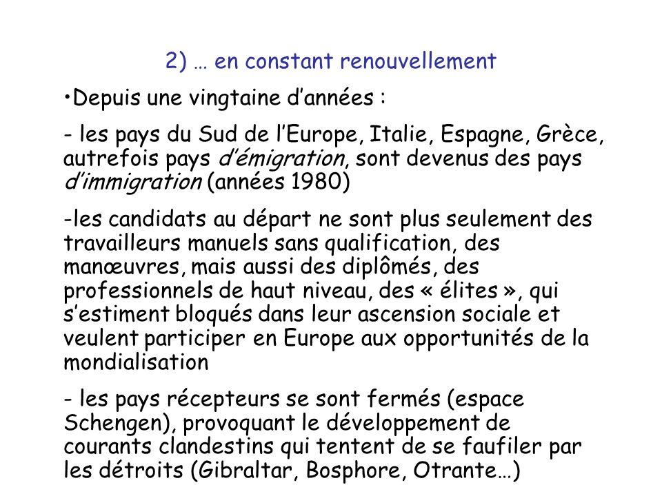C) Un commerce déséquilibré 1) Un Sud encore loin du rattrapage économique Les PSEM se caractérisent par leur retard de développement : l'agriculture commence à exporter à partir des zones irriguées (ainsi les cultures maraîchères de Tunisie ou du Maroc) - sans que cela profite beaucoup à la masse paysanne