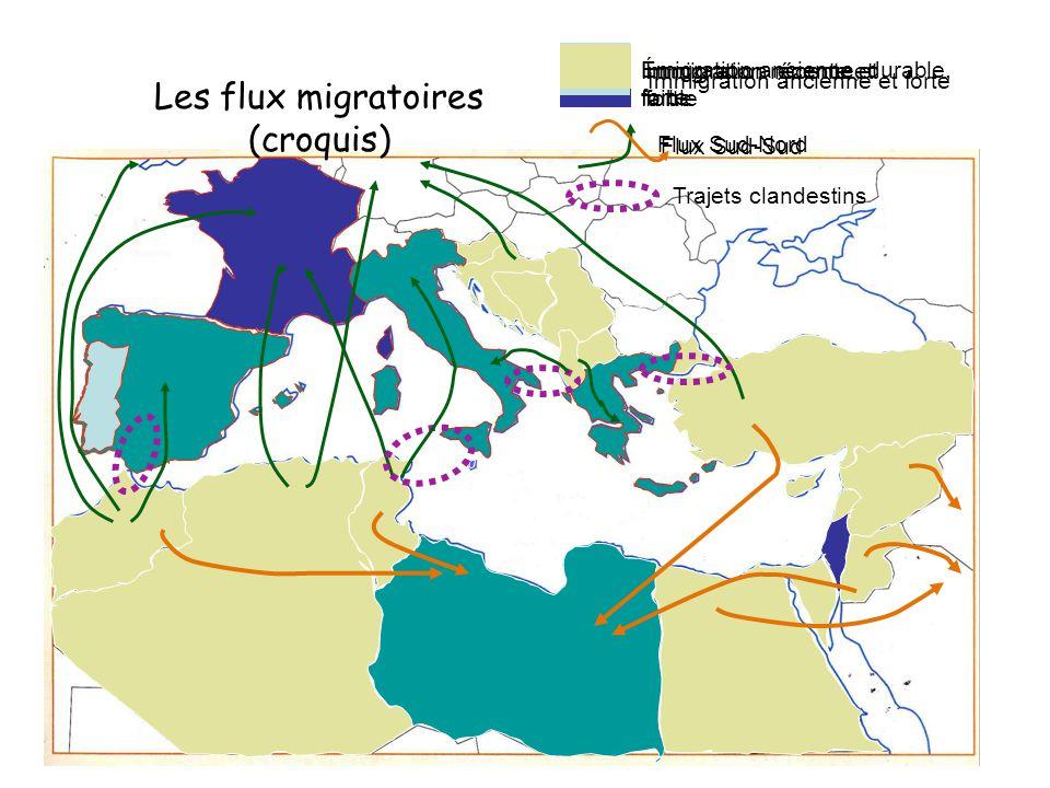 Les flux migratoires (croquis) Immigration ancienne et forte Immigration récente et forte Immigration récente et faible Émigration ancienne, durable,